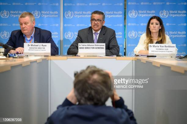 World Health Organization Health Emergencies Programme Director Michael Ryan WHO DirectorGeneral Tedros Adhanom Ghebreyesus and WHO Technical Lead...