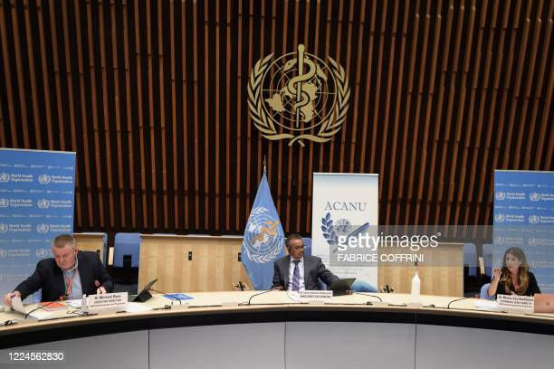 World Health Organization Health Emergencies Programme head Michael Ryan, WHO Director-General Tedros Adhanom Ghebreyesus and WHO Technical lead head...