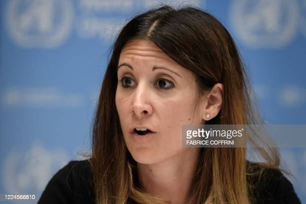World Health Organization Technical lead head Covid19 Maria Van Kerkhove attends a press conference organized by Geneva Association of United Nations...
