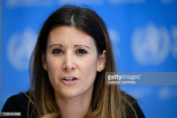 World Health Organization Technical Lead Maria Van Kerkhove attends a daily press briefing on COVID19 virus at the WHO headquaters on March 6 in...