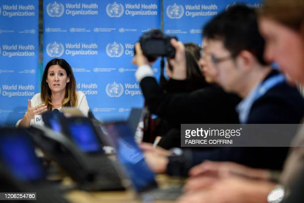 World Health Organization Technical Lead Maria Van Kerkhove gestures as she speaks during a daily press briefing on COVID19 virus at the WHO...