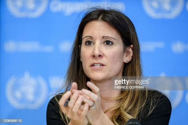World Health Organization Technical Lead Maria Van Kerkhove talks during a daily press briefing on COVID19 virus at the WHO headquarters in Geneva on...