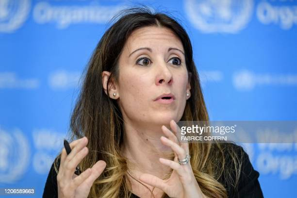 World Health Organization Technical Lead Maria Van Kerkhove talks during a daily press briefing on COVID19 the disease caused by the novel...