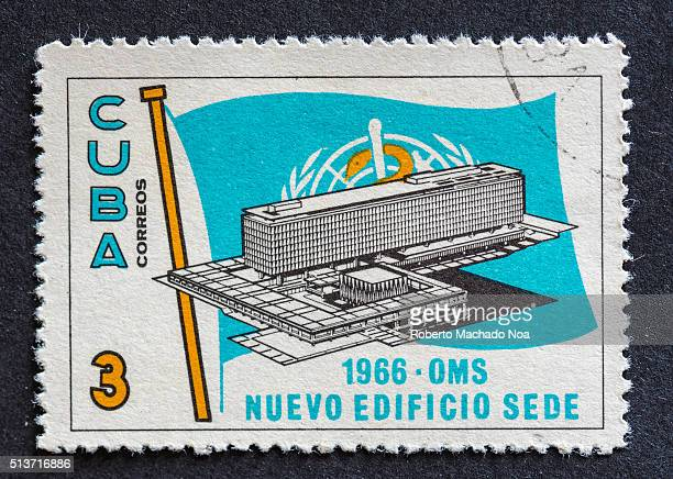 World Health Organization WHO new building Cuban postage stamp 1966