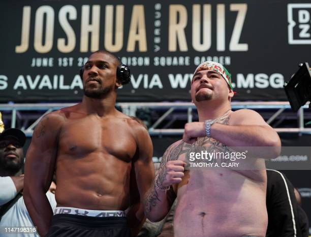 World heavyweight boxing champion Anthony Joshua of England and MexicanAmerican Andy Ruiz Jr pose during their weighin at Madison Square Garden in...