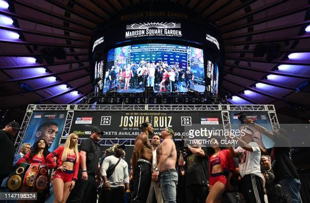 World heavyweight boxing champion Anthony Joshua of England faces off with MexicanAmerican challenger Andy Ruiz Jr during their weighin at Madison...