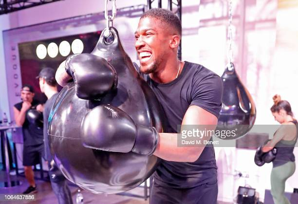 World Heavyweight Boxing Champion Anthony Joshua takes part in boxing fitness session at the Range Rover Evoque Launch at The Old Truman Brewery on...