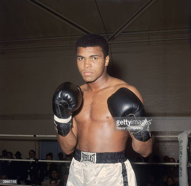 World heavyweight boxing champion Muhammad Ali in training at the Royal Artillery Gymnasium in London for his upcoming fight with British champion...