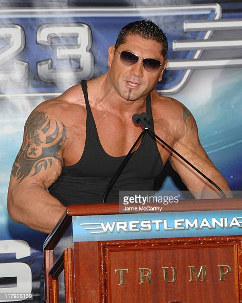 WWE World Heavyweight Champion Batista during Donald Trump and WWE News Conference for WrestleMania 23 March 28 2007 at Trump Tower in New York City...