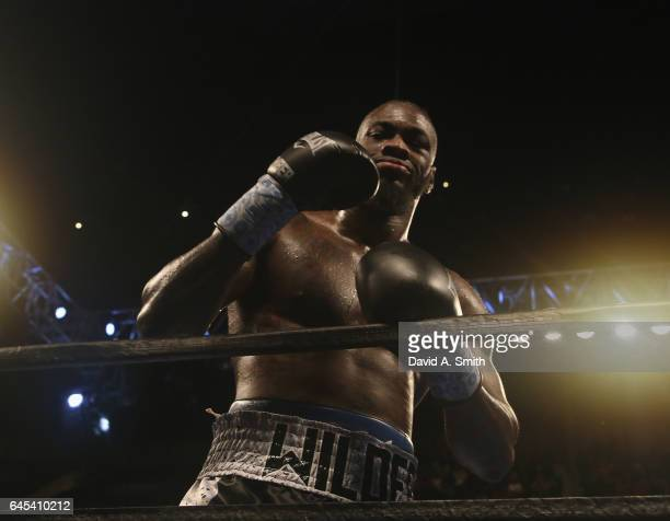 World Heavyweight Champion Deontay Wilder celebrates his win over Gerald Washington at Legacy Arena at the BJCC on February 25 2017 in Birmingham...