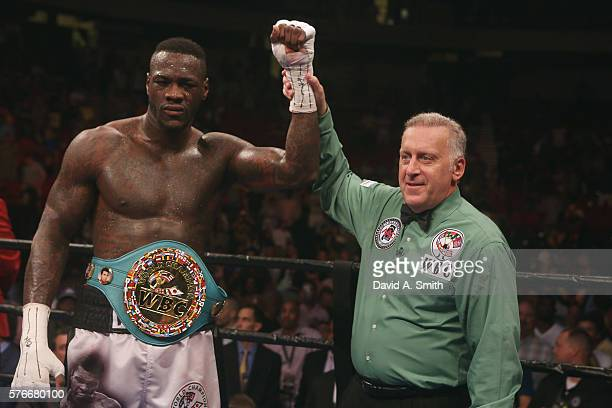 World Heavyweight Champion Deontay Wilder is announced the winner in his fight against Chris Arreola at Legacy Arena at the BJCC on July 16 2016 in...