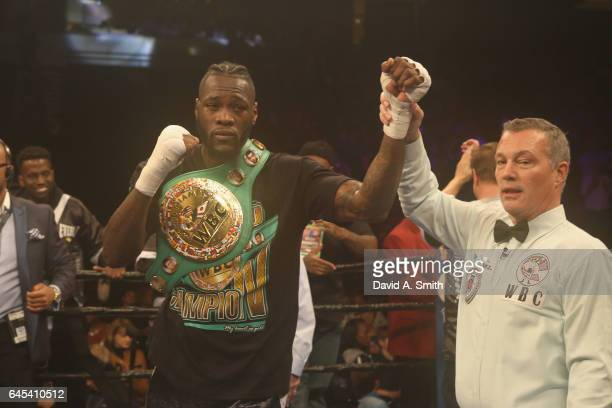 World Heavyweight Champion Deontay Wilder is announced the winner over Gerald Washington at Legacy Arena at the BJCC on February 25 2017 in...