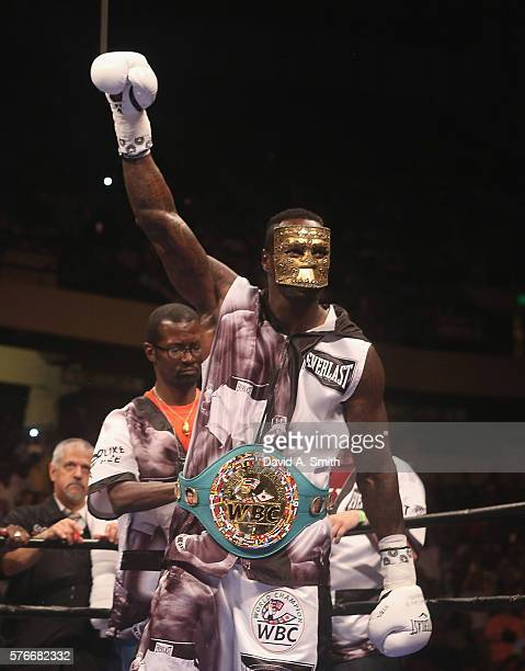 World Heavyweight Champion Deontay Wilder waits for the beginning of his title defense against Chris Arreola at Legacy Arena at the BJCC on July 16...