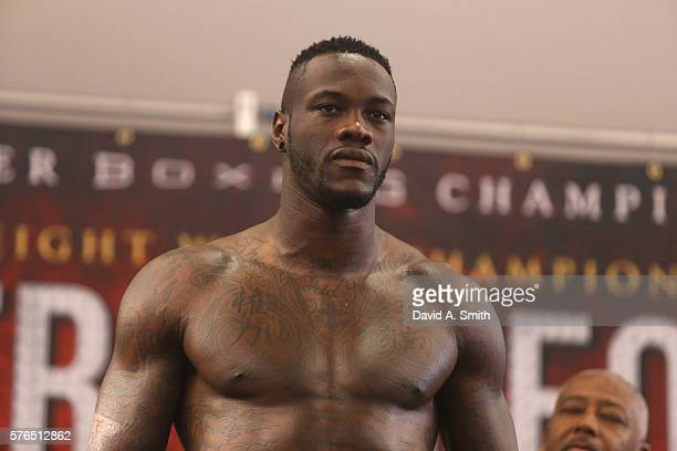 World Heavyweight Champion Deontay Wilder weighsin at Legacy Arena at the BJCC on July 15 2016 in Birmingham Alabama The weighin is for his July 16th...