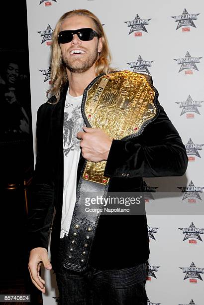 World Heavyweight champion Edge attends the WrestleMania 25th anniversary press conference at the Hard Rock Caf� on March 31 2009 in New York City
