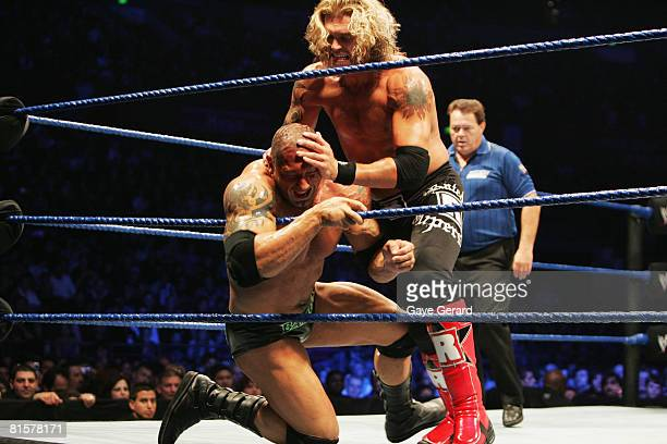 World Heavyweight Champion Edge gets Batista into the ropes during WWE Smackdown at Acer Arena on June 15 2008 in Sydney Australia