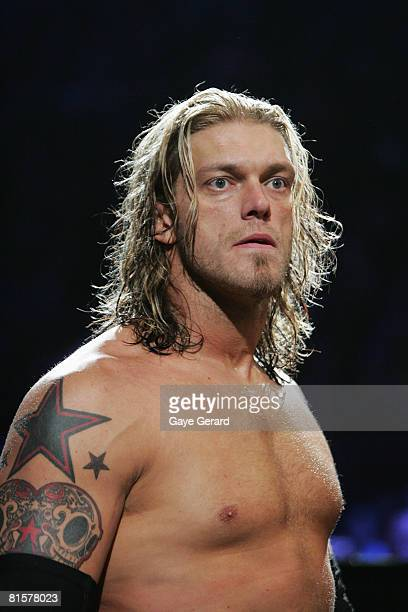 World Heavyweight Champion Edge looks on during WWE Smackdown at Acer Arena on June 15 2008 in Sydney Australia