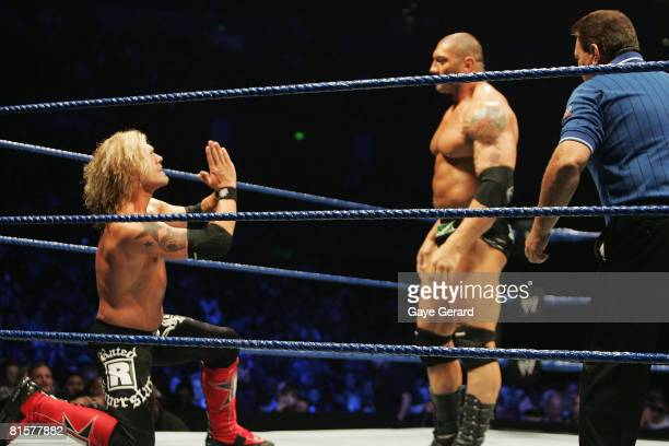 World Heavyweight Champion Edge pleads to Batista during WWE Smackdown at Acer Arena on June 15 2008 in Sydney Australia