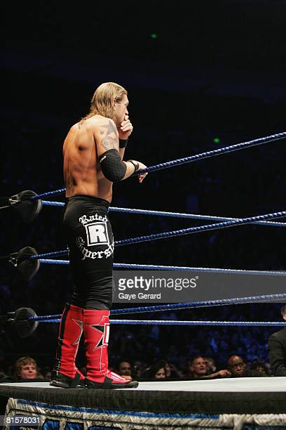 World Heavyweight Champion Edge stands outside of the ring during WWE Smackdown at Acer Arena on June 15 2008 in Sydney Australia