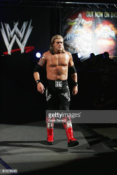 World Heavyweight Champion Edge walks to the ring during WWE Smackdown at Acer Arena on June 15 2008 in Sydney Australia