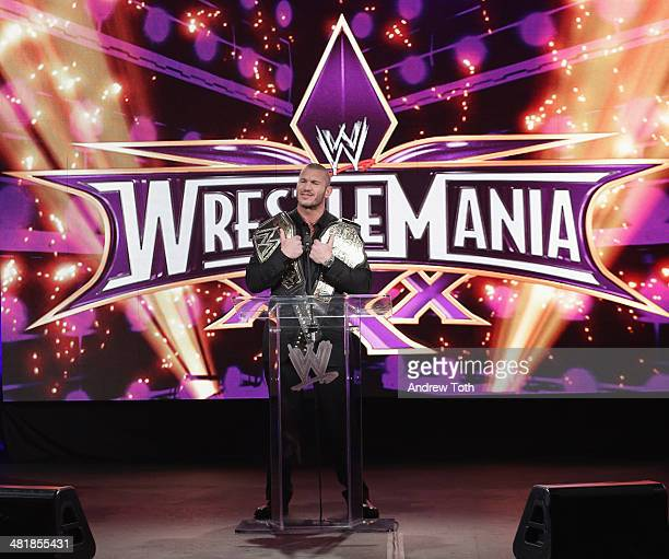 World Heavyweight Champion Randy Orton attends the WrestleMania 30 press conference at the Hard Rock Cafe New York on April 1 2014 in New York City