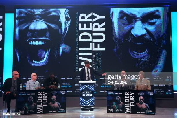 WBC world heavyweight champion US boxer Deontay Wilder and former world heavyweight champion British boxer Tyson Fury attend a press conference in...