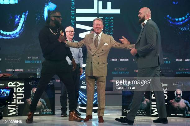 WBC world heavyweight champion US boxer Deontay Wilder and former world heavyweight champion British boxer Tyson Fury are seperated by boxing...