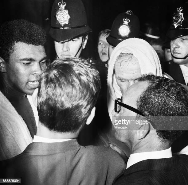 World heavyweight title fight between American champion Cassius Clay and British challenger Henry Cooper at Highbury Stadium North London Clay won in...