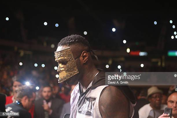 World Heayweight Champion Deontay Wilder walks to the ring to defend his title against Chris Arreola at Legacy Arena at the BJCC on July 16 2016 in...
