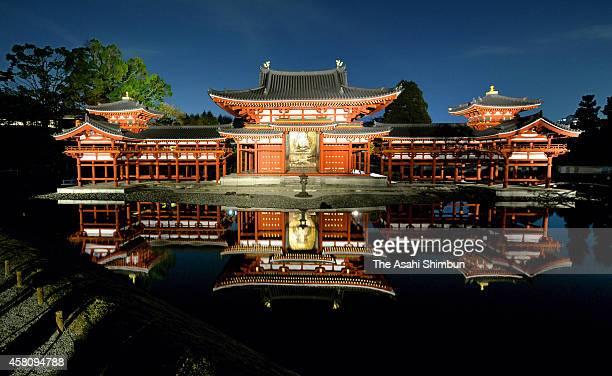World Heritage Byodoin temple's Phoenix Hall is illuminated on October 30, 2014 in Uji, Kyoto, Japan. The Phoenix Hall, the most famous structure in...