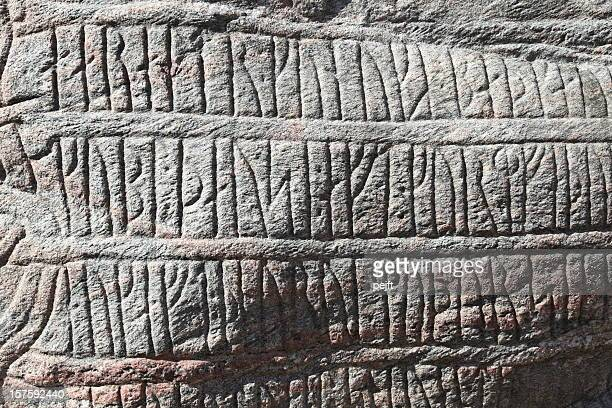 unesco world heritage denmark's birth certificate the jelling runic stone - pejft stock pictures, royalty-free photos & images