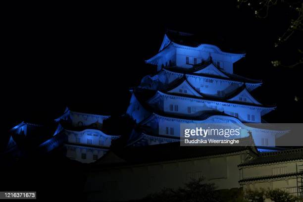 World Heritage Himeji Castle is illuminated in blue light to mark World Autism Awareness Day on April 2, 2020 in Himeji, Japan. Japan's number of...