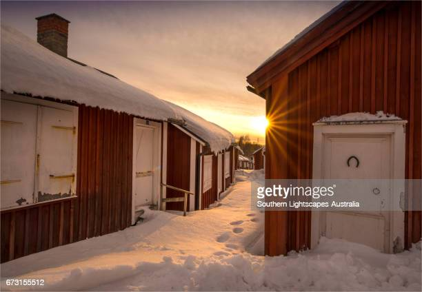 World Heritage listed and historic timbered village of old Lulea, Lapland, Sweden.