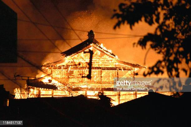 World Heritage Shuri Castle is burned down on October 31 2019 in Naha Okinawa Japan