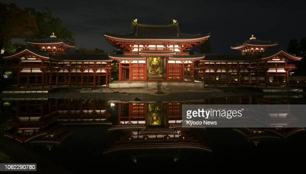 World Heritage site Byodoin Temple is lit up in Uji Kyoto Prefecture on Nov 16 2018 ==Kyodo