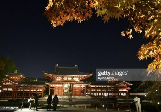 World Heritage site Byodoin Temple is lit up in Uji, Kyoto, western Japan, on Nov. 15, 2019.