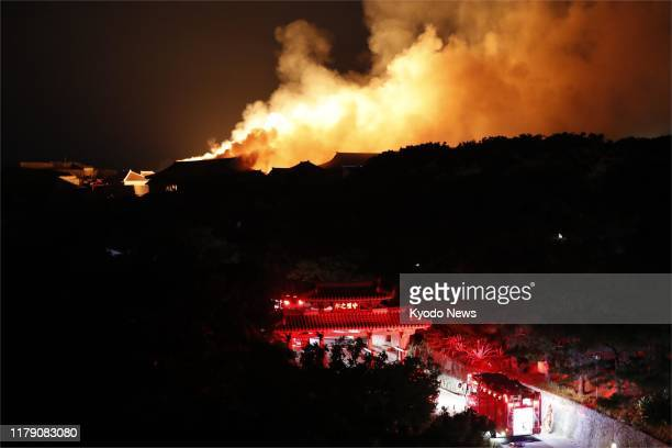 World Heritage site Shuri Castle is ablaze in Naha Okinawa Prefecture southern Japan on the morning of Oct 31 2019