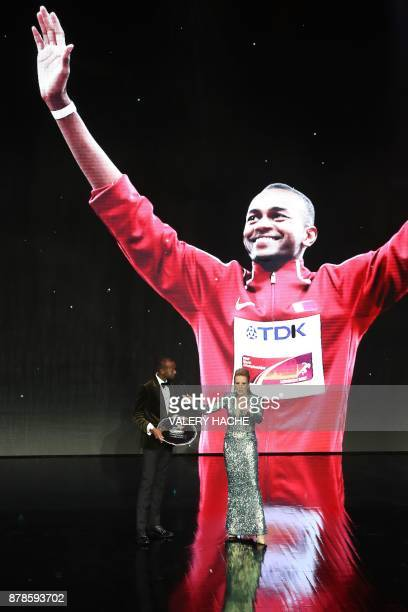 World high jump champion Qatar's Mutaz Essa Barshim is awarded Male Athlete of the Year 2017 during the International Association of Athletics...