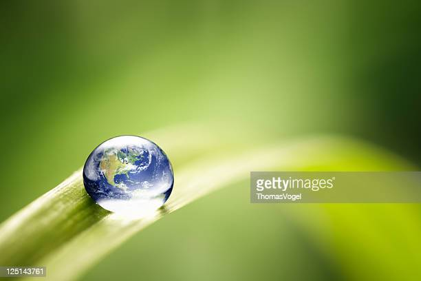 world in a drop - nature environment green water earth - milieu stockfoto's en -beelden