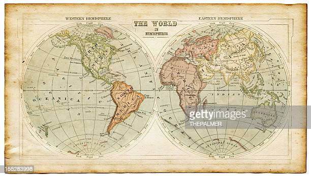 world in hemispheres 1875 - world map stock photos and pictures