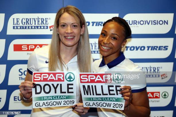 World indoor 400m bronze medallist Eilidh Doyle of Great Britain poses with British indoor 60m silver medallist Rachel Miller of Great Britain at a...