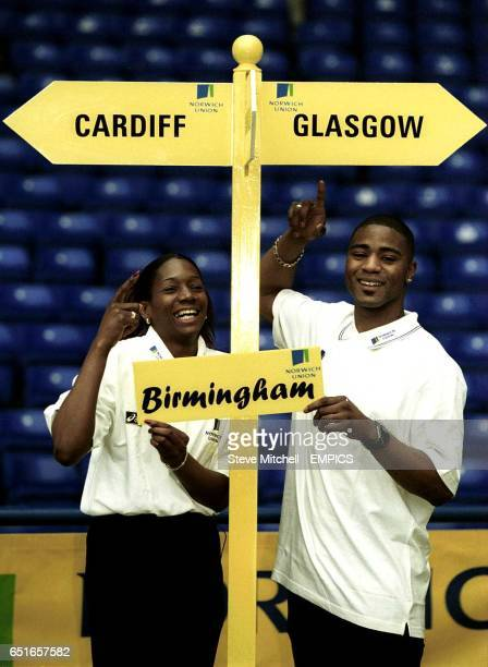 World Indoor Triple Jump record holder Ashia Hansen and World Junior 100m champion Mark LewisFrancis point the way to the three venues for this...