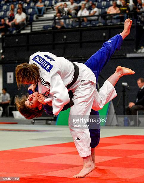 World Junior bronze medallist Jemima YeatsBrown of Great Britain twists out of this attack by World bronze medallist Megan Fletcher also of Great...