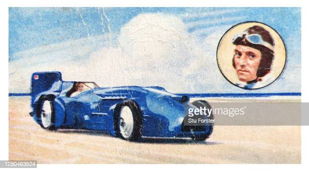 World Land Speed Record Holder Sir Donald Campbell illustrated on a Champion series Gallaher Tobacco Cigarette Card from 1934.
