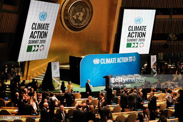 World leaders and delegates gather at the United Nations for a summit to address climate change on September 23, 2019 in New York City. While the...