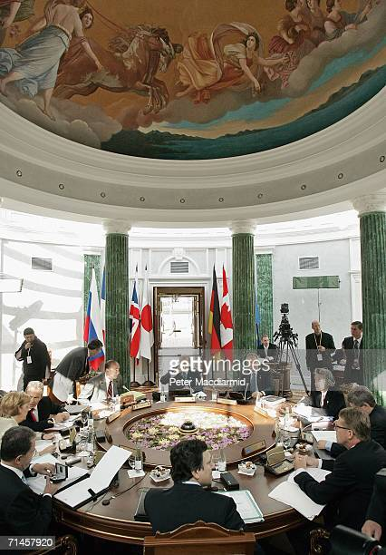World leaders attend a meeting hosted by Russian President Vladimir Putin during the G8 Summit in the Konstantinovsky Palace on July 16, 2006 in...