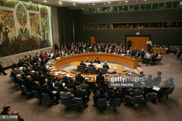 World leaders attend a UN Security Council meeting at the United Nations headquarters September 24 2009 in New York City The council approved a...