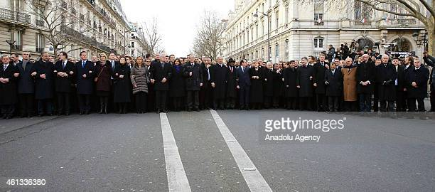 World leaders attend the Unity March 'Marche Republicaine' in Paris France on January 11 2014