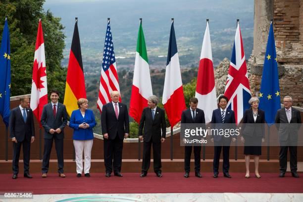 World leaders european president commisioner Donald Tusk canadian Prime Minister Justine Trudeau German Chancellor Angela MerkelUS President Donald...