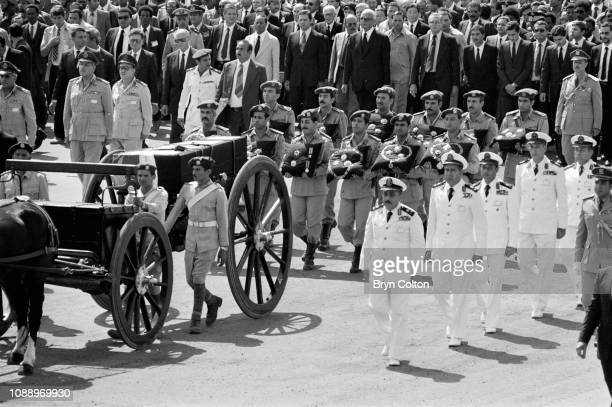 World leaders follow the flag draped coffin containing the body of assassinated Egyptian president Anwar Sadat on a horsedrawn carriage and past the...